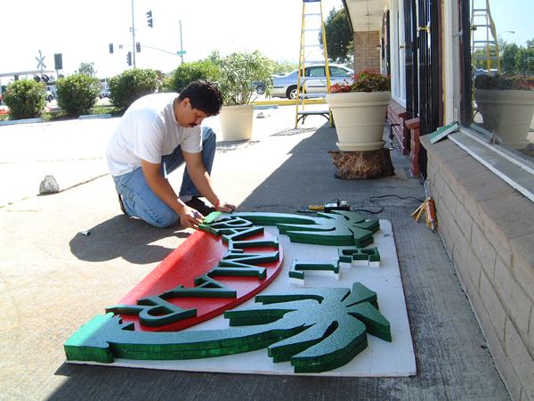 Foam sign made with hotwire foam factory tools